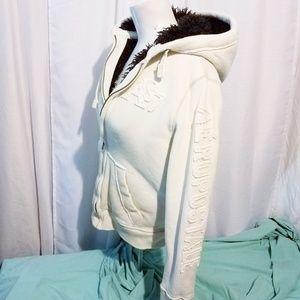 Aeropostale fur lined Hoodie XS heavy White&Brown